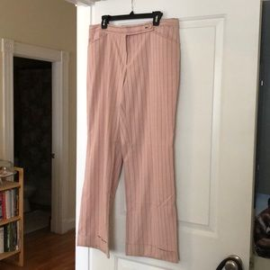 Pink pinstripe pants from Anthropologie